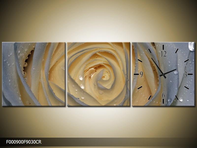 Obraz s hodinami orosená růže