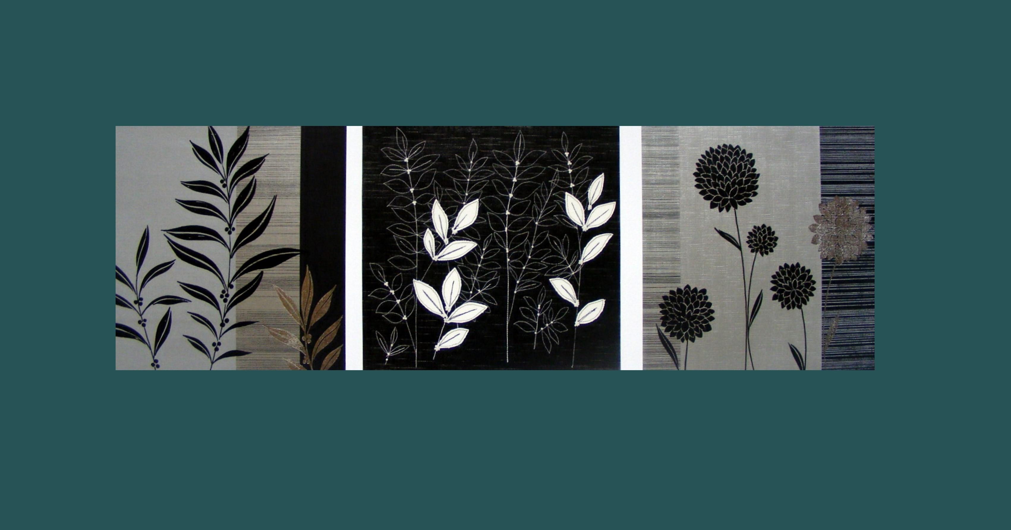3D sada obrazů květin
