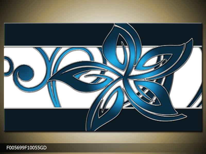 Obraz na skle modrý květ