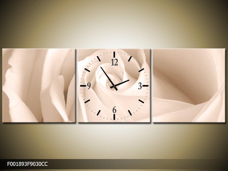 Obraz s hodinami květ růže