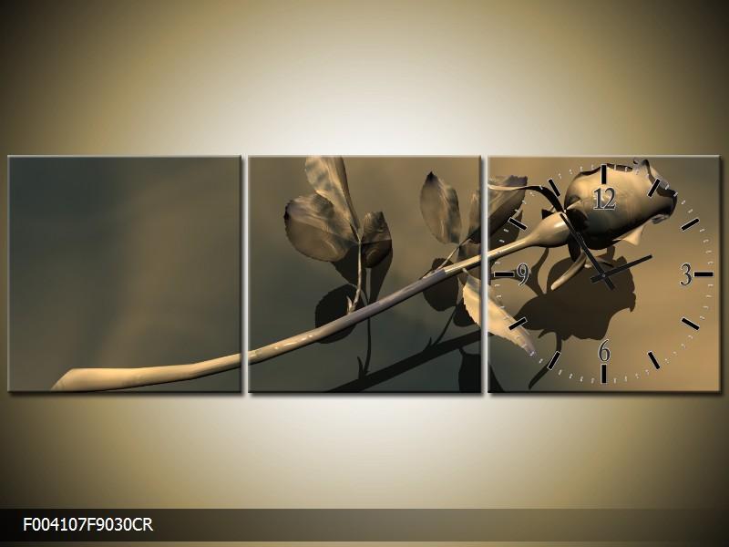 Obraz s hodinami abstrakt růže