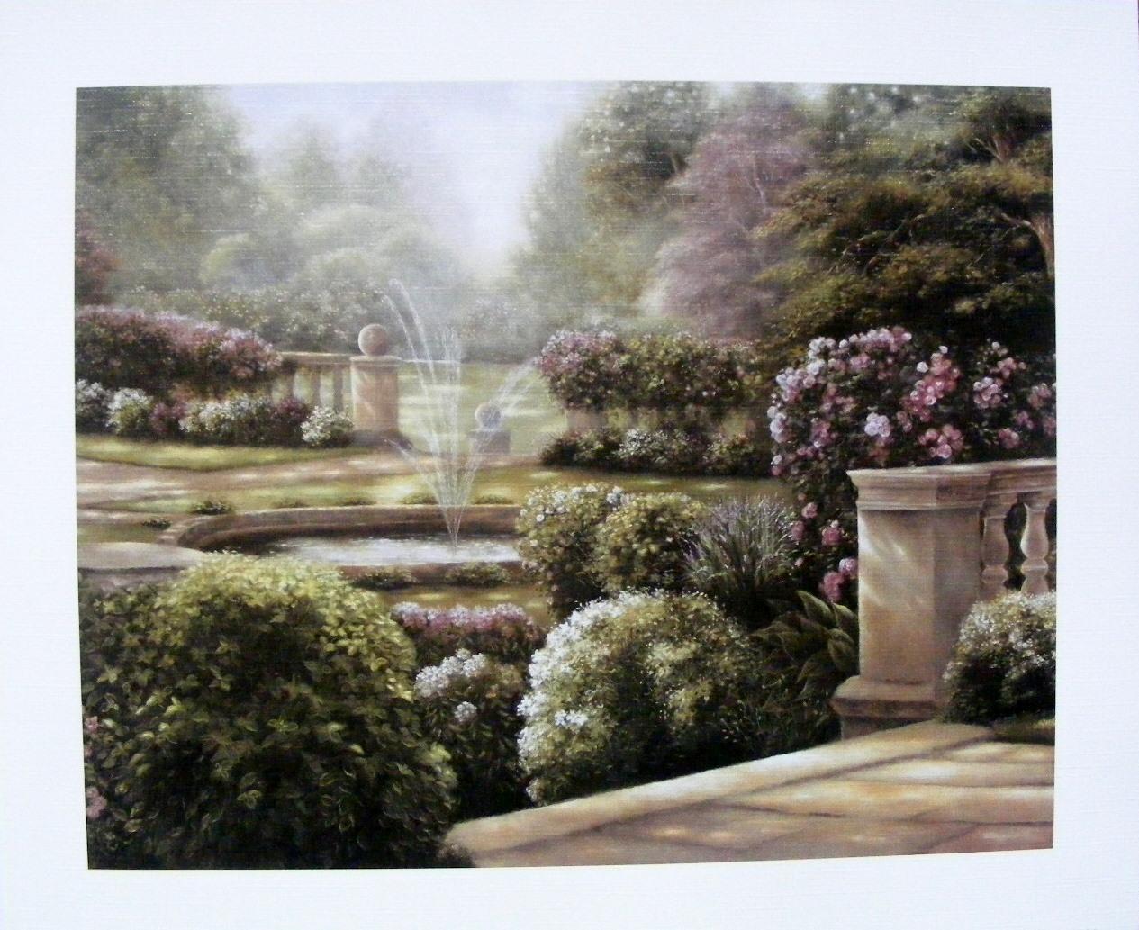 Obraz zahrady s fontánkou