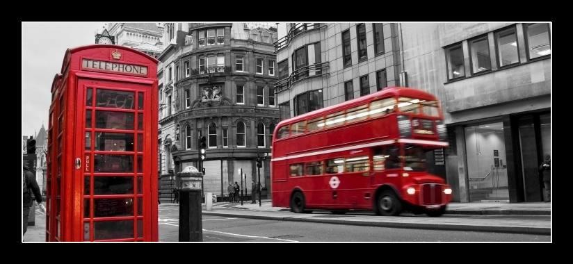 Obraz na stěnu červený autobus a telefonní budka