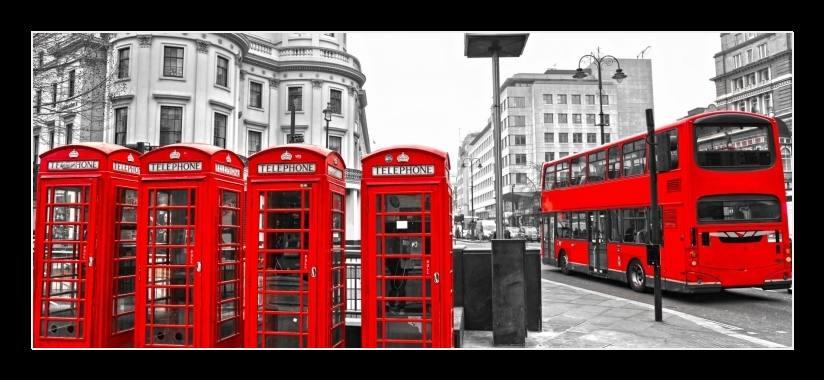 Obraz na stěnu Londýnský autobus a telefonní budky