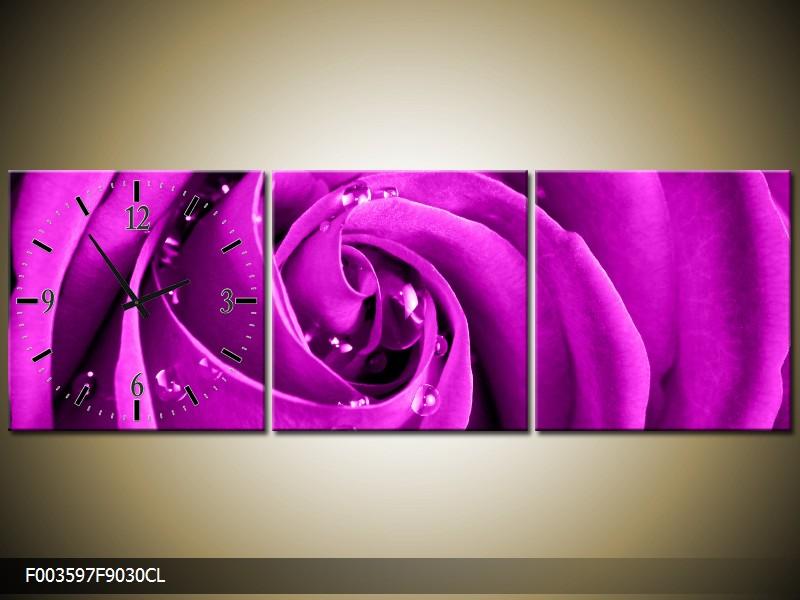 Obraz s hodinami detail růže