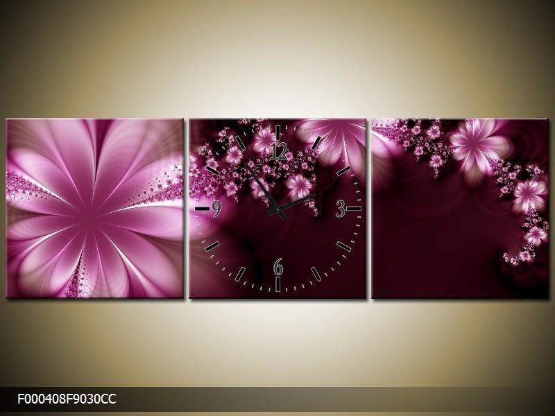 Obraz s hodinami růžové květy