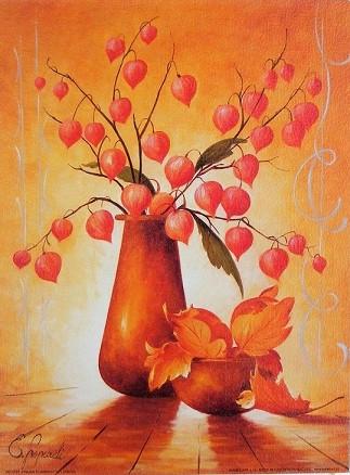 Podzimní obraz vázy s květinami