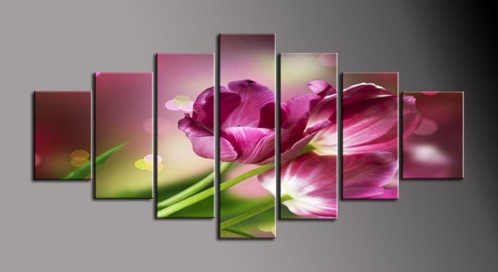 Obraz na plátně fialová tulipány