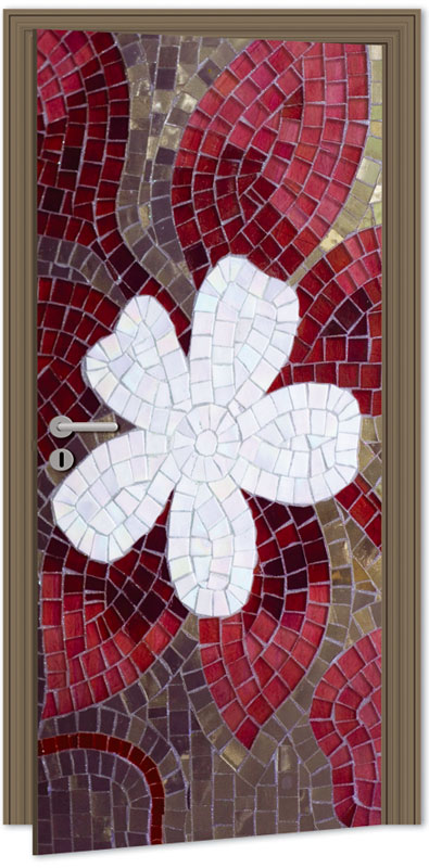 Samolepící fototapeta na dveře - červená mozaika