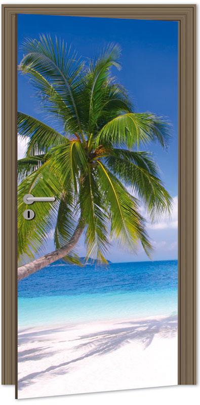 Samolepící fototapeta na dveře - pláž s palmou