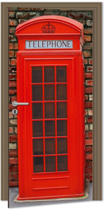 Samolepící fototapeta na dveře - telefonní budka