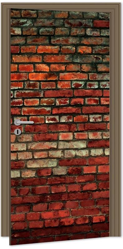 Samolepící fototapeta na dveře - cihlová zeď
