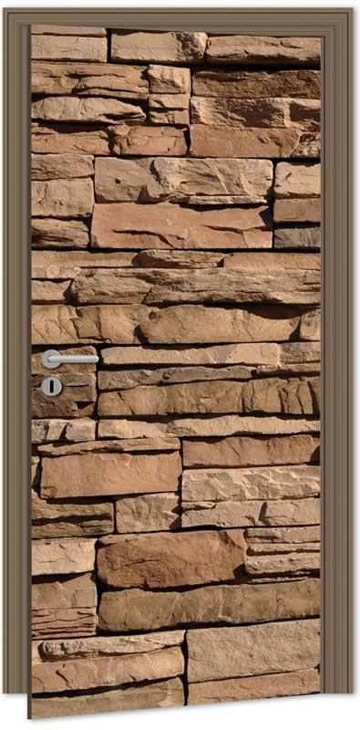 Samolepící fototapeta na dveře - kamenná zeď