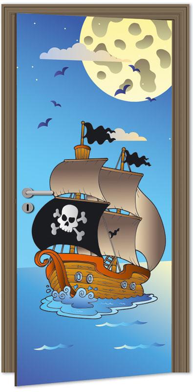 Samolepící fototapeta na dveře - piráti