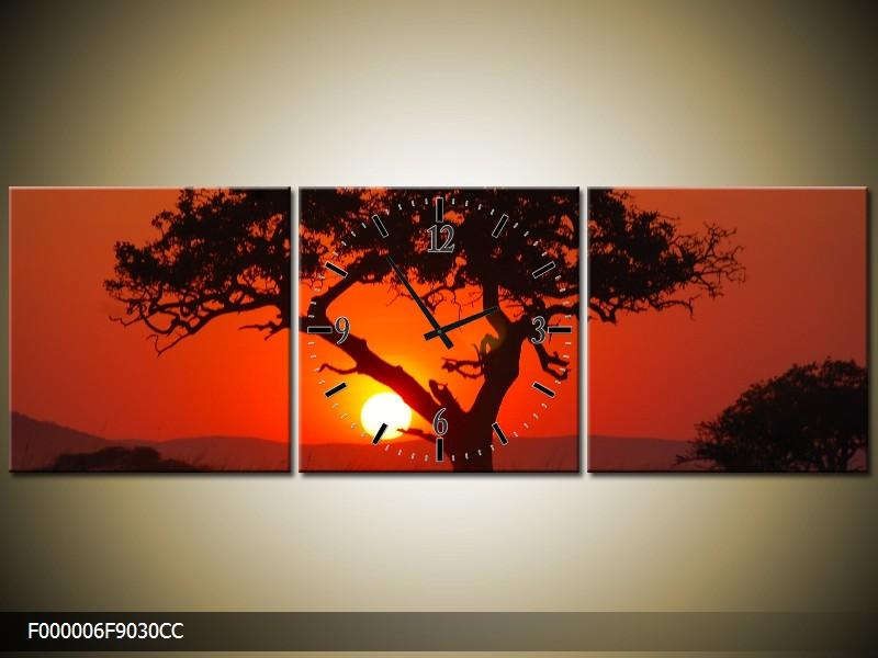 Obraz s hodinami krajina se stromem
