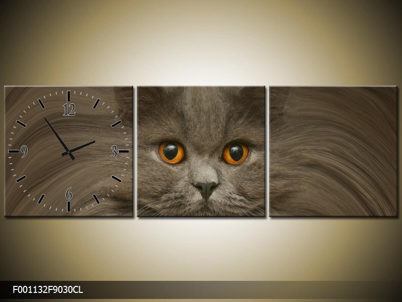 Obraz s hodinami kočka