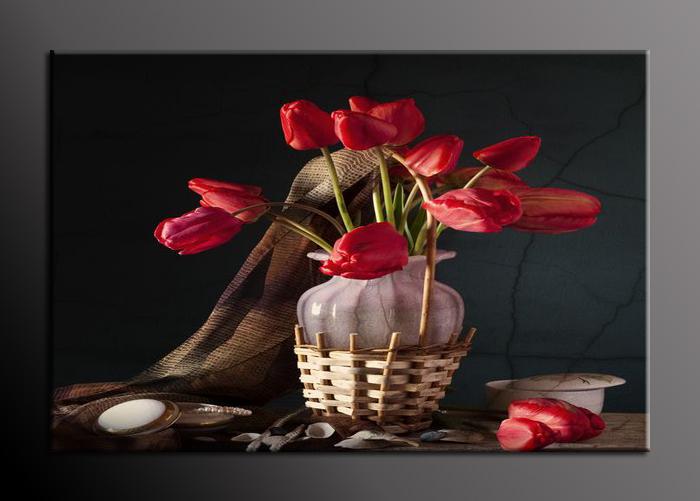 Obraz vázy s tulipány