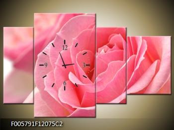Obraz s hodinami květ růže v detailu