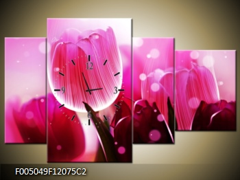 Obraz s hodinami růžové tulipány