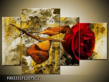 Obraz s hodinami červená růže