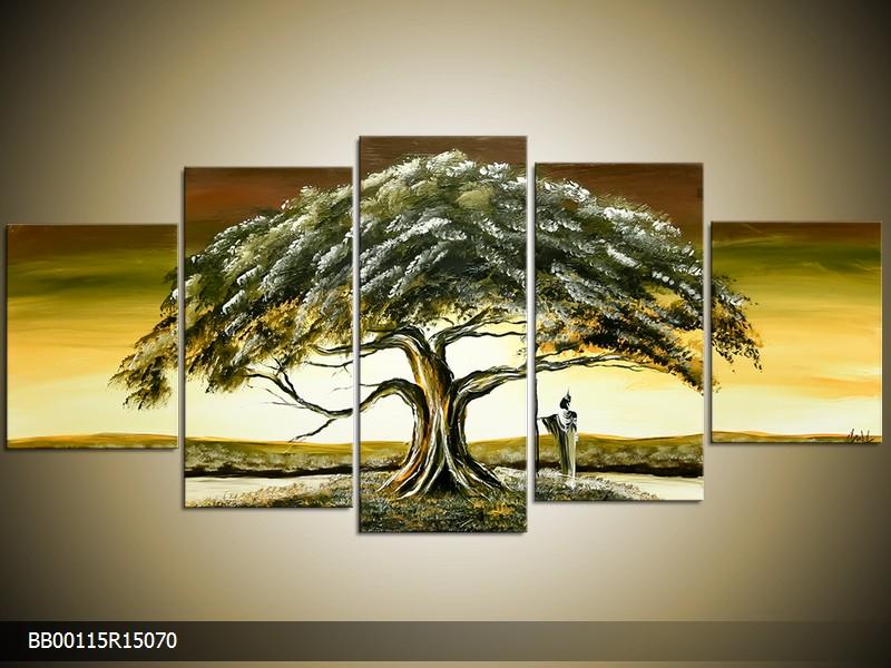 Ručně malovaný obraz stromu v krajině
