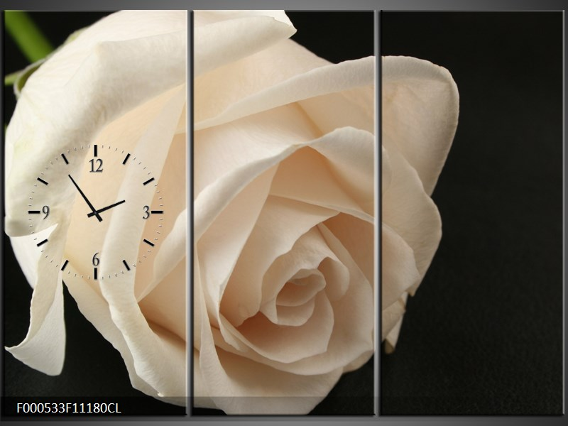 Obraz s hodinami bílá růže