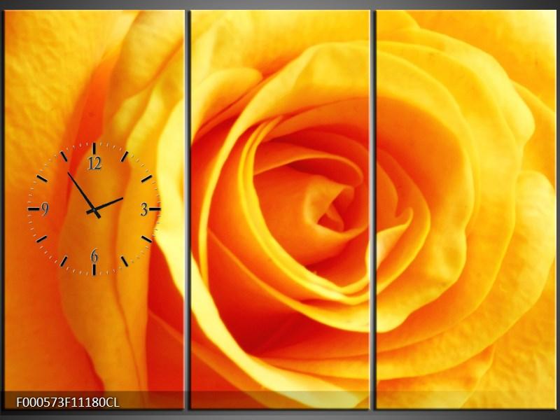 Obraz s hodinami oranžová růže