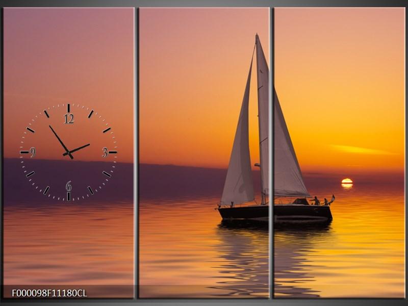 Obraz s hodinami plachetnice