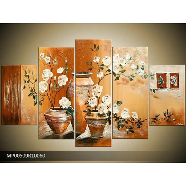 Obraz vázy s bílými květy