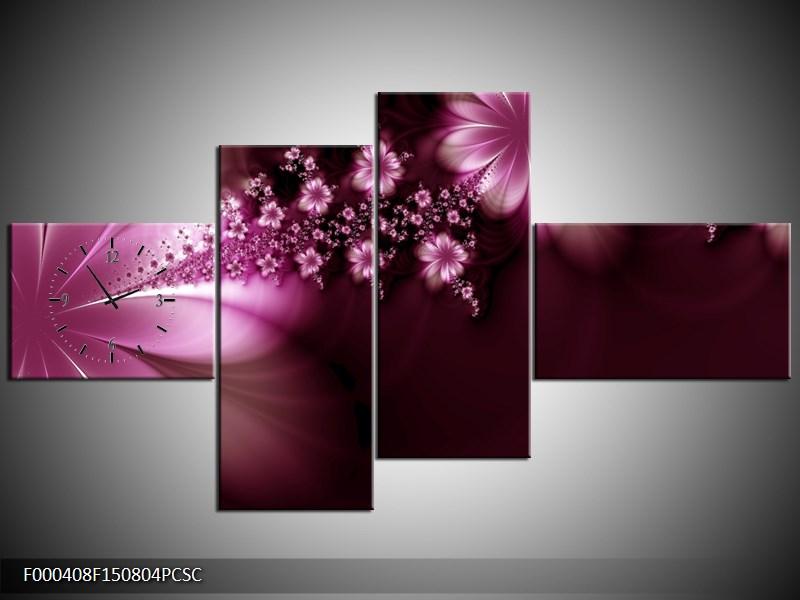 Obraz s hodinami růžové květiny