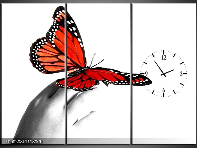 Obraz s hodinami motýl na ruce