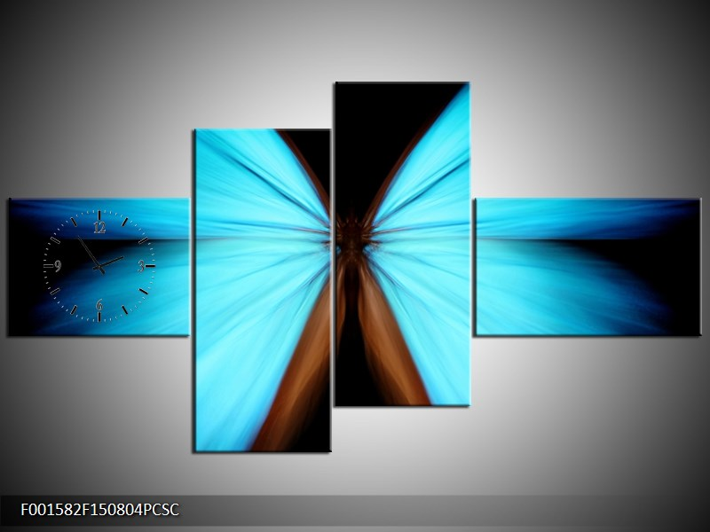 Obraz s hodinami abstrakce motýl