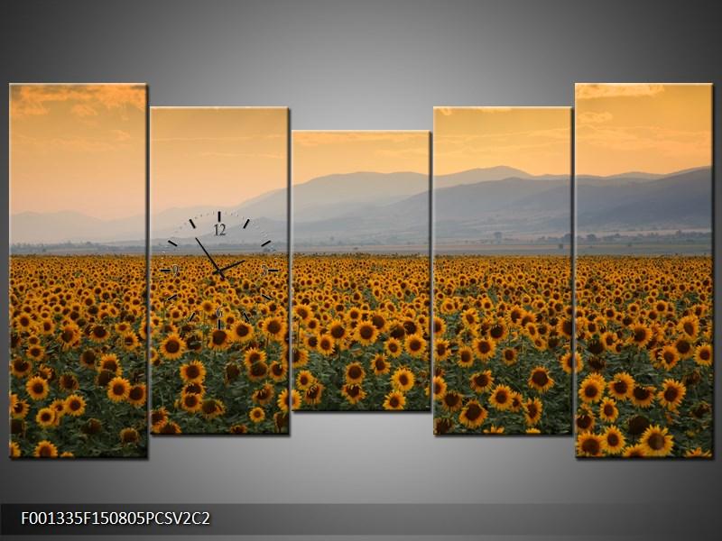 Obraz s hodinami pole slunečnic