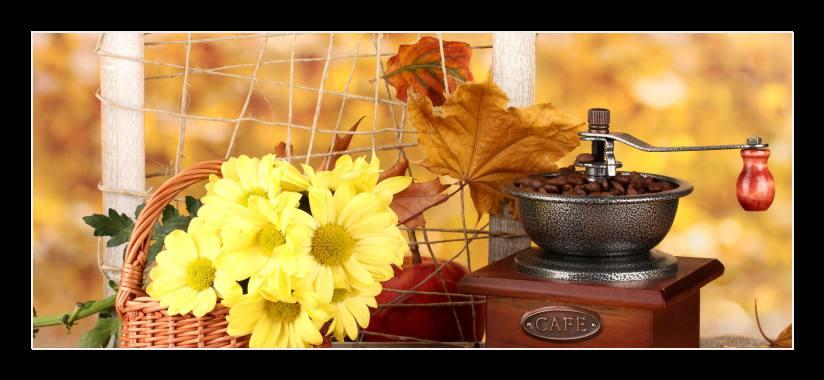 Obraz na zeď košík květin, mlýnek na kávu