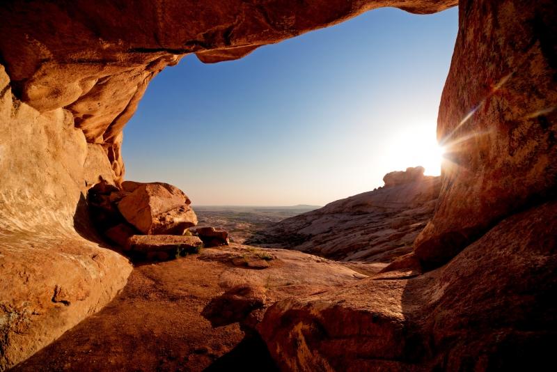 Fototapeta jeskyně při západu slunce