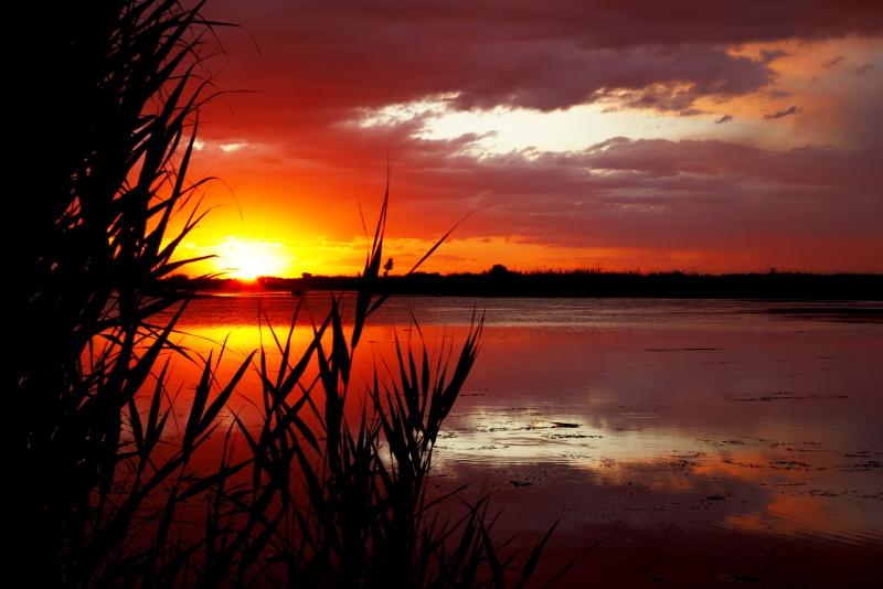 Fototapeta západ slunce nad rybníkem