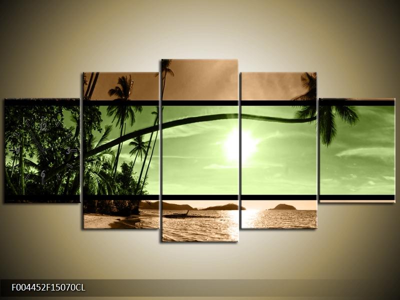Obraz s hodinami palma