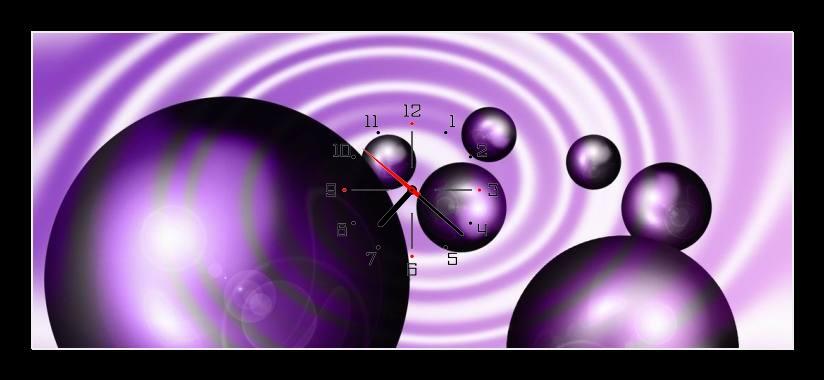 Obraz s hodinami - fialová abstrakce bubliny