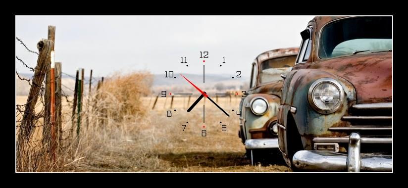 Obraz s hodinami - stará auta na cestě