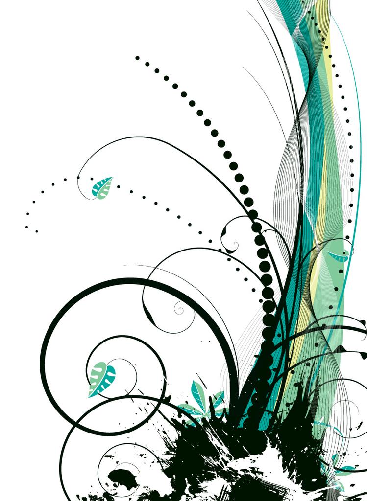 Obraz zeleno černých ornamentů