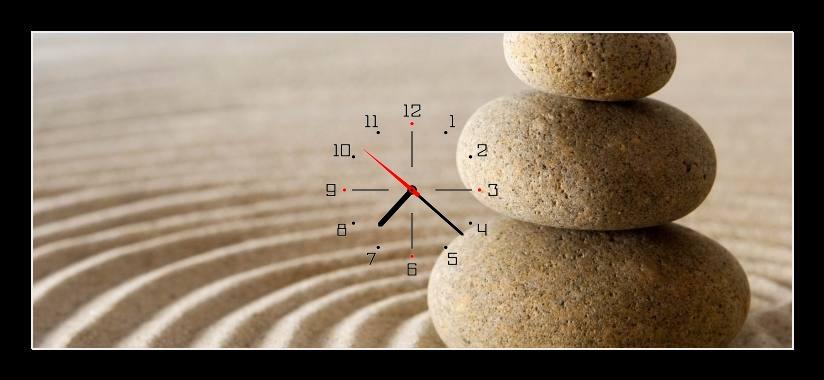 Obraz s hodinami - kameny na písku