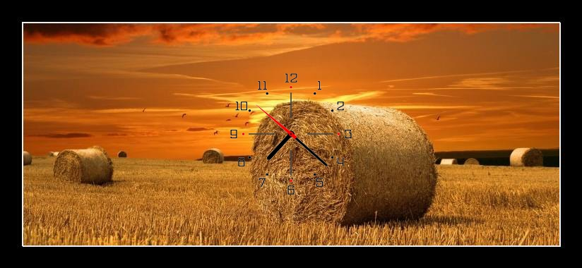 Obraz s hodinami - pole s balíky slámy