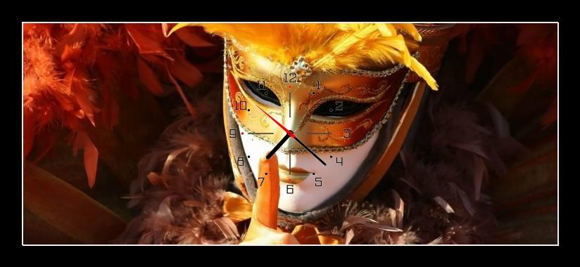Obraz s hodinami - zlatá maska