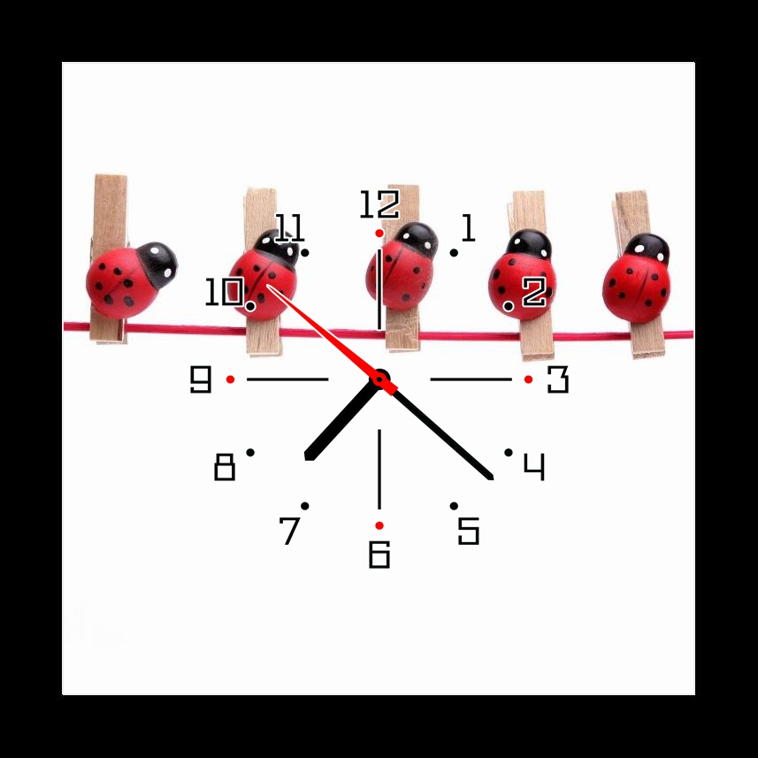 Obraz s hodinami berušky