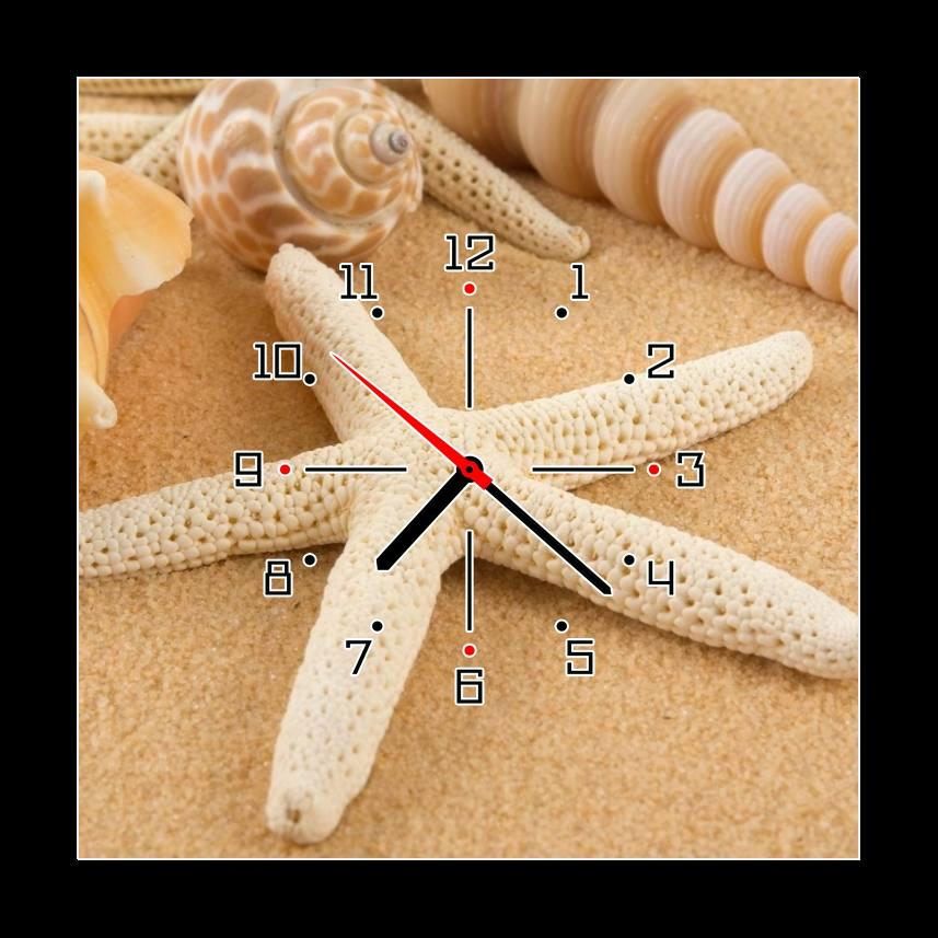 Obraz s hodinami mořské plody