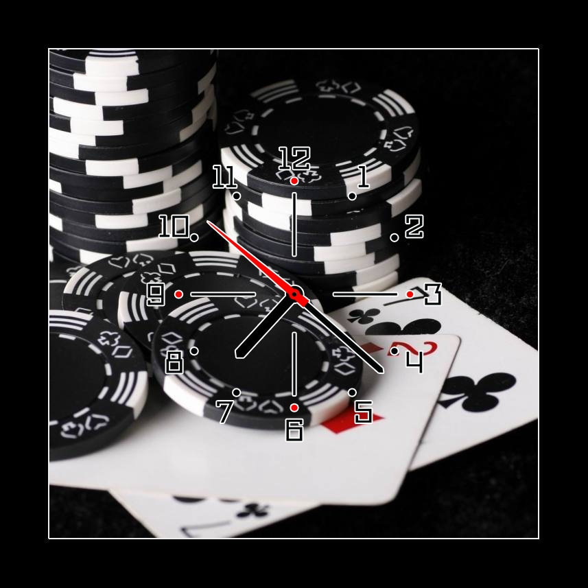Obraz s hodinami poker