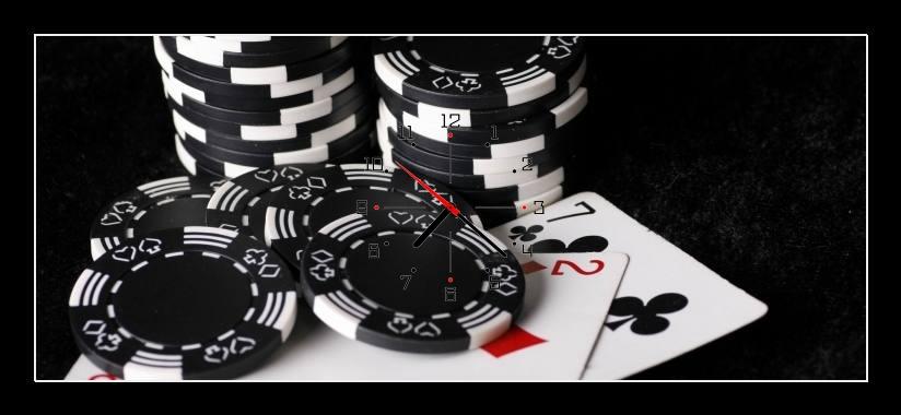 Obraz s hodinami - poker