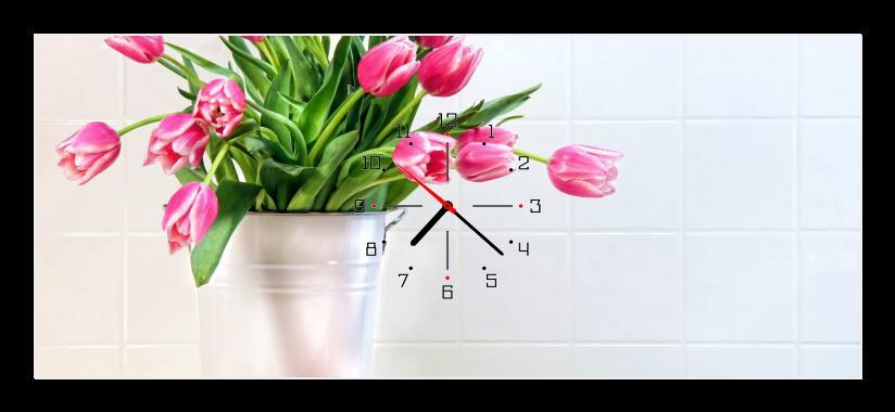 Obraz s hodinami - růžové tulipány