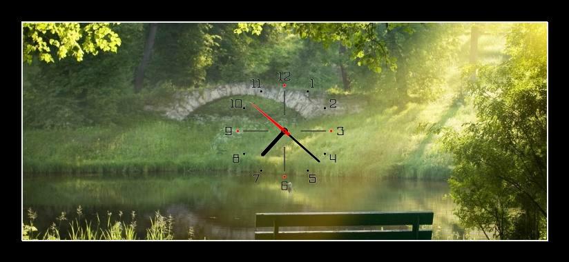Obraz s hodinami - lavička
