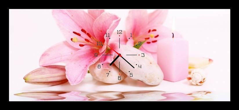 Obraz s hodinami - růžové lilie
